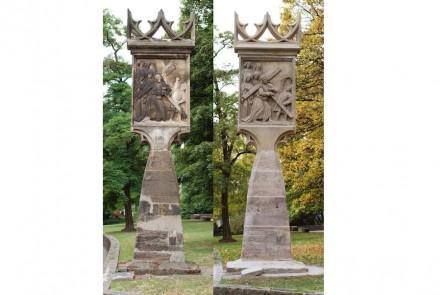 Die Betsäule (Seite Kreuztragung) vor und nach der Restaurierung: 2. Preis für Markus und Christof Traub.