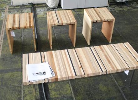 Machbar in Stein wären die Sitzbänke nach Art von Sperrholz, die diefabrik aus Leipzig präsentierte.