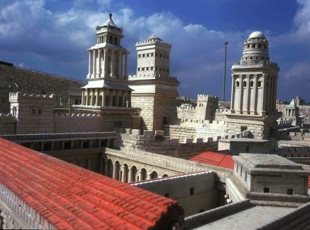 Detail of the Model of Second Temple Period Jerusalem at the Israel Museum (Mariamme, Phasael and Hippicus, the multi-storied towers of the citadel built by Herod in Jerusalem). Photo: Holy Land Tourism (1992) Ltd / by Garo Nalbadian