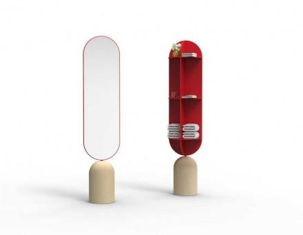 """""""Orte"""" é um espelho articulado com guardador na face traseira; o design é de L. Longo e A. Romano, De-Signum Studio Lab."""