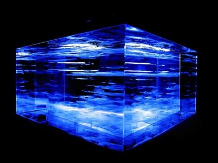 Glas-Laser-Gravur-Modell des Untergrunds unter der Stadt Halle und Umgebung. Foto: P. Wycisk