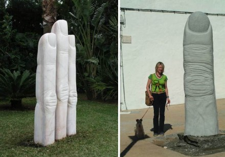 "Jose Luis Hinchado: ""Fingers"" (left), Portuguese marble. Right: ""Finger of God"", granite, (with Elena Yushkova)."