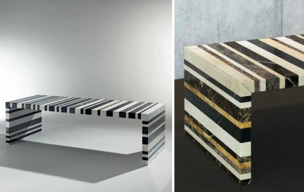 """Barcode"", a table by Germany's <a href=""http://www.draenert.de""target=""_blank"">Draenert</a> is made of natural stone waste. Here are two types. Hidden from view, the ingenious subconstruction. Photo: Draenert"