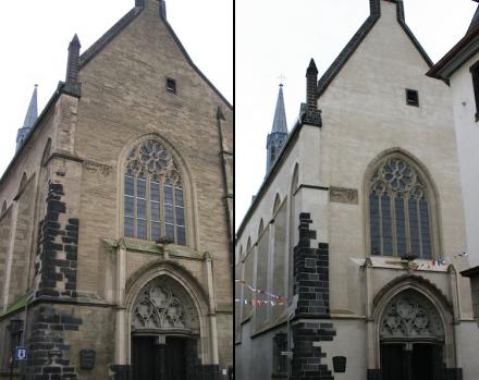 Die Christuskirche in Andernach vor der Sanierung (links, 2004) und danach (2013). Fotos: Wikimedia Commons / Peter Becker