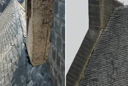 Die Schieferdeckung auf dem Kirchendach war zwar in Ordnung, aber durch die Anbindung ans Mauerwerk drang Wasser ein. Foto: Gesell Kriesten und Partner