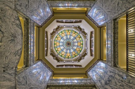 Though no drawings or photos of the original stained glass skylight were found, the design is based on similar pieces dating back to the period when the court house was originally built.