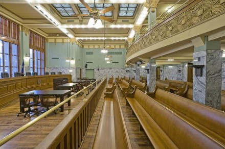 Two of the building's courtrooms were also restored to their original condition.