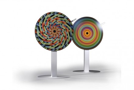 """""""Opus-Motus"""" by Raffaello Galiotto and Lithos Design comprises a large rotating disk upon which stone elements of various colors are arranged."""