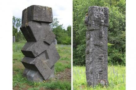 Links: Skulptur von Jakob Savinsek. Rechts: Skulptur von Erich Reischke.