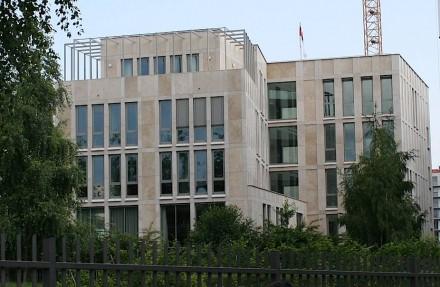 Rückseite der Botschaft von Singapur in Berlin.