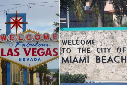 """StonExpo/Marmomacc Americas will take place in Las Vegas in January and in Miami Beach in October under the new name of """"International Surface Event"""" and """"International Surface Event East"""", respectively. Photos: Katrin Speicher (left), Wikimedia Commons (right)."""