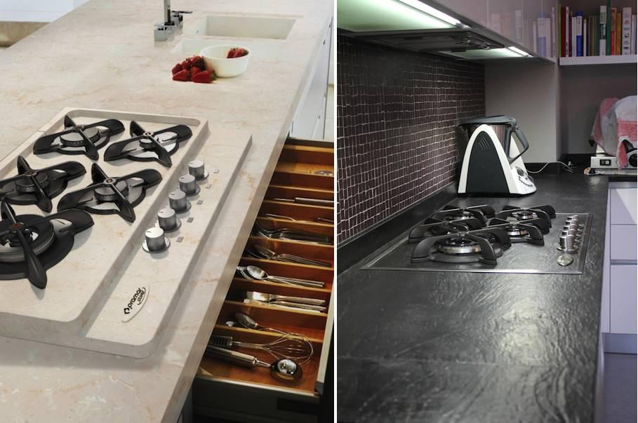 Cucinare con fiamma di gas su fornelli in marmo o granito for Ardesia per cucinare