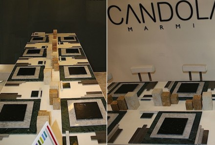 Scandola and Manuel Barbieri at Marmomacc 2013: a laid table.