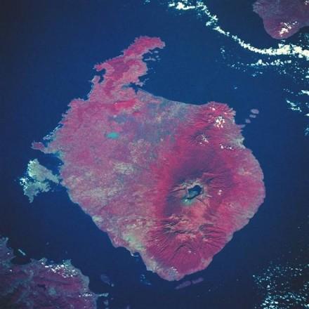 Farbige Infrarotaufnahme der Insel Lombok mit dem Vulkan Rinjani im Jahr 2006. Foto: Wikimedia Commons / Nasa