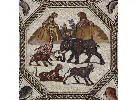 Zentrales Mittelfeld: Tiere vor einer afrikanischen Landschaft zwischen den Bergen Gewser mit mythologischem Seeungeheuer.
