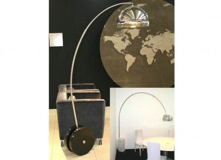 """Achille Castiglioni's Lamp """"Arco"""" , 1962 (small picture right) mobilized thanks to wheels by <a href="""" http://www.lsi-stone.com/""""target=""""_blank"""">Inovopedra</a>."""