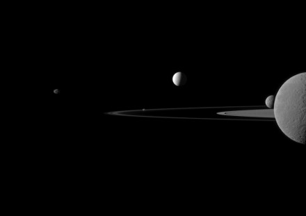 Five moons pose for the international Cassini spacecraft to create this beautiful portrait with Saturn's rings. Photo: NASA/JPL-Caltech/Space Science Institute