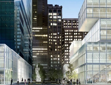 Rendering of The Guardians: Hero and Superhero in the public plaza of 1095 Avenue of the Americas at Bryant Park. Source: Antonio Pio Saracino