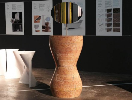"""""""En Rose"""" is a marble make-up table. Its body made up of top and bottom half. Its shape is inspired by Botticelli's Venus de Milo offers space for drawers."""