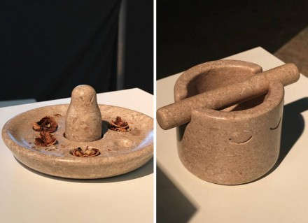 The mass of Chiampo Paglierino marble is the distinguishing factor of demonic nutcracker and grinning mortar and pestle.