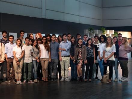 Los estudiantes en la Marmomacc.