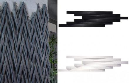 "Mosarte: ""Serros"". Marmor Grigio (links), Schiefer Preto (rechts oben), Marmor Thassos (rechts unten)."