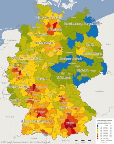 Kaufkraftindex: wo die reichen Deutschen zuhause sind.