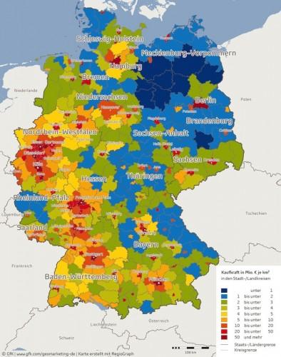 Kaufkraftdichte je nach Landkreis beziehungsweise Stadtkreis.