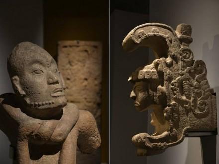 The Cumpich adolescent (left), limestone, Cumpich, Campeche. Escultura. La Reina de Uxmal' (right), limestone. Uxmal, Yucatán.