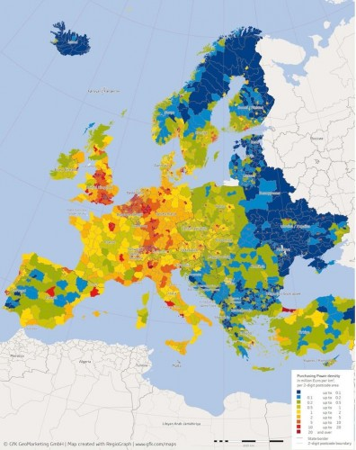 Densidad de poder adquisitivo (purchasing power density) en Europa.