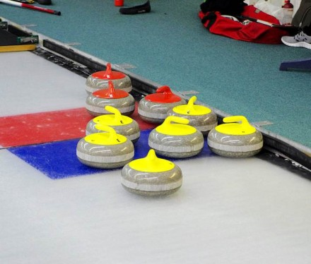 """Curling granite stones or """"rocks"""". Photo: Wikimedia Commons / Clément Bucco-Lechat."""