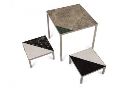 O nome é sóbrio e sem rodeios e assim é também o design. Ronaldo Barbosa explora a rocha sem exageros na forma de tampos de mesas sobre pés neutros, estruturas metálicas em tons dourados, prateados e de bronze.
