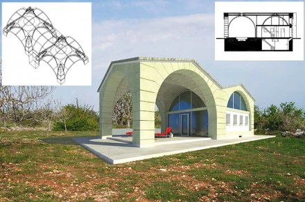 """In the case of """"Ardito House"""" the roofed veranda is also outfitted with a vault ceiling."""