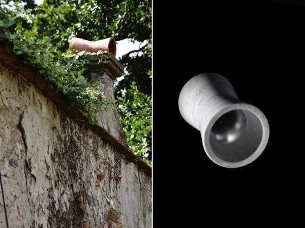 "Architettura Sonora: ""Yoyo"", terracotta (left); ""Yoyo"", Bianco Carrara marble (right)."