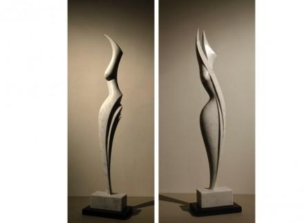 """Anna Korver: """"Marble figure"""" (left), Carrara marble, """"Marble figure 1"""", Carrara marble."""