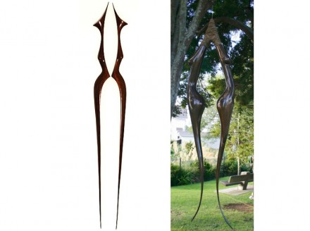 "Anna Korver: ""Dual figure"" (left), bronze, ""Lady hook"", swamp matai."