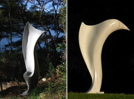 "Anna Korver: ""Tern"" (left), New Zealand marble, ""Icarus"", New Zealand marble."
