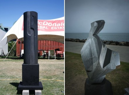 "Anna Korver: ""Untitled"" (left), Taranaki andesite, ""The Butterfly Dress"", Taranaki andesite."