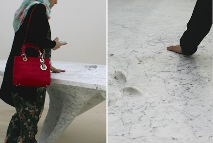 "Zaha Hadid, Citco: ""Moon Table"", Marmor Bianco Carrara. Photos: Peter Becker"