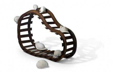"""Beatriz Carbonell Ferrer: """"Caminos en Silencio"""" (Ways in Silence), alabaster, iron, 210x170x90 cm."""