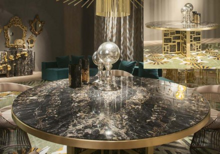 """The table, which goes by the name of """"Petersburg"""" is made of Portoro Marble and implemented for the table top as well as for the frame."""