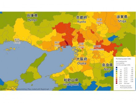 Purchasing power index per inhabitant for municipality around Osake and Kyoto. Table: GfK