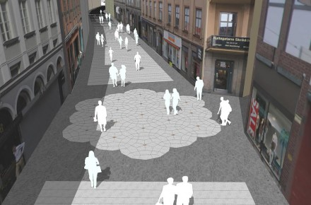"""The wall-to-wall """"carpeting"""" is interrupted where a side-street discharges into Kullagatan."""