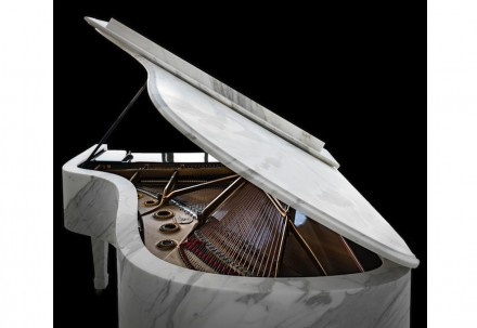 """""""M-Piano"""", Grand-Piano by Steinway & Sons with natural stone cladding in Calacatta marble (1-3 cm thick), 550 kg."""