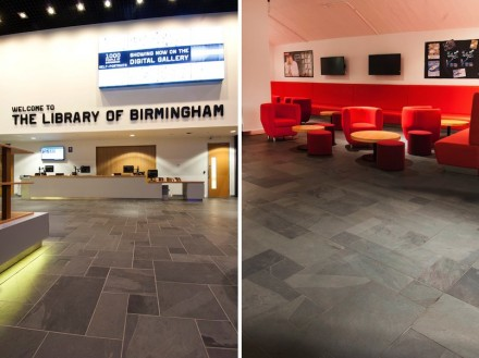 Brazilian slate was chosen for the entrance area because it fulfills the safety standards and specifications regarding resilience, skid-resistance and color. Fotos: Fila