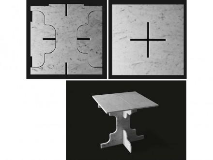 """O il tavolino da caffè """"Sfrido"""". Da notare: il materiale di partenza è sempre la piastrella di scarto con il formato 40x40x1 cm."""