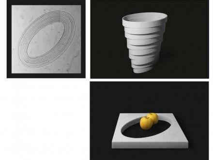"""Per esempio per il vaso """"Gerla"""". nel suo caso vengono fatti dei ritagli concentrici impilati uno sopra l'altro."""
