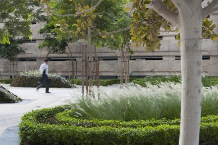 Midriff-high grass adorns the gateway allowing a clear view into the area and inviting passers-by to come in for a rest. When the Shamal wind sweeps over the grass, a very special ambiance is created.