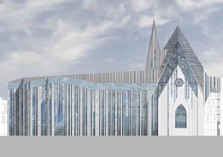 Erick van Egeraat: Gebäude der Universität Leipzig, links das Augusteum, in der Mitte das Paulinum. Rendering: Erick van Egeraat