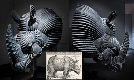 "Raffaello Galiotto: ""Rhinoceros"". The ancient engraving by Albrecht Durer in 1515 inspired this work. Just as the manual straight, curved or geometric hatches delineate the two-dimensional figure so does the cutter sculpt the mass and draw the surface. The graphic texture is first digital, using software, and then material by passage of the cutting tool. It becomes the characteristic feature of the work itself, entirely ""machine-made"". Produced by Citco, Rivoli Veronese (VR), Italy; material: Grigio Bardiglio; machine by Donatoni Macchine, Domegliara (VR), Italy; model machine: Quadrix DG 2000."